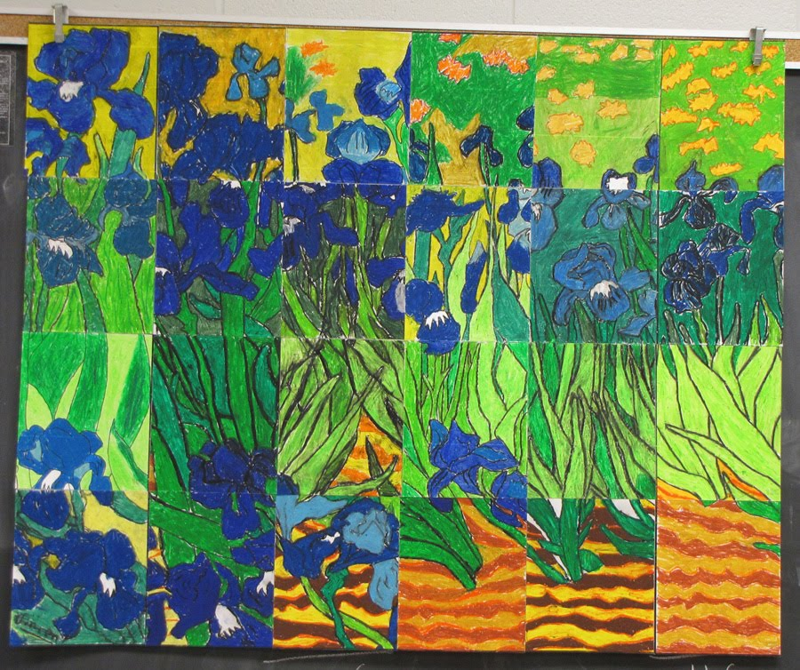 Van gogh iris mural from canada art projects for kids for Mural van gogh