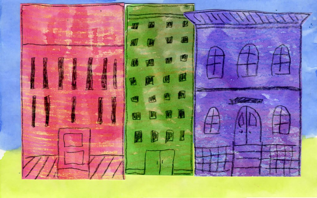 watercolor buildings art projects for kids