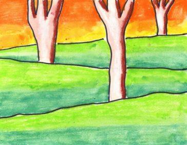 landscape drawing for kids