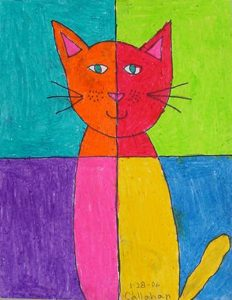 abstract cat pastel drawing