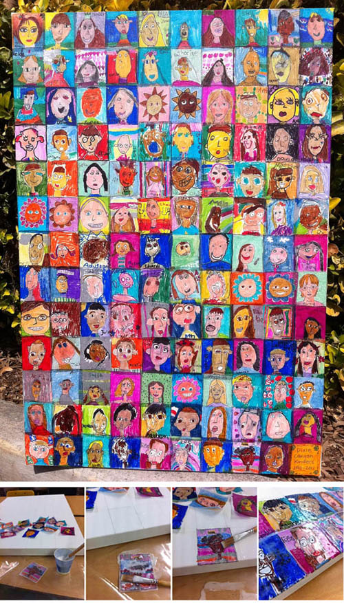 Kinder Self Portraits on Canvas - Art Projects for Kids