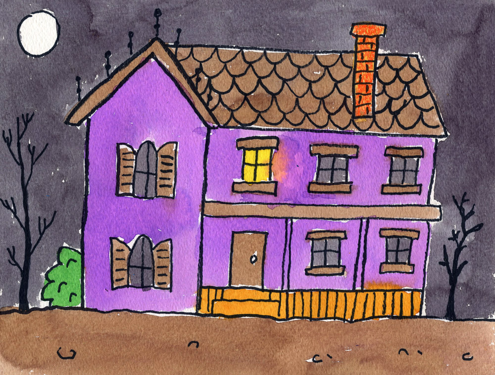 Draw a haunted house art projects for kids Haunted house drawing ideas