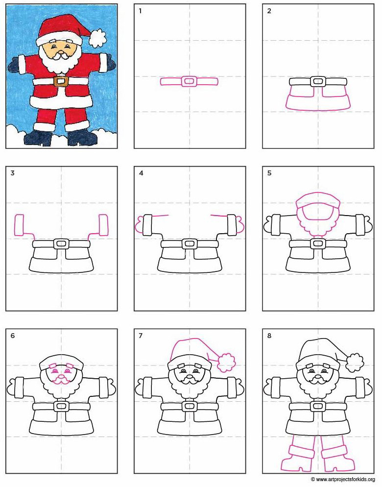 A Santa Claus Drawing Art Projects For Kids