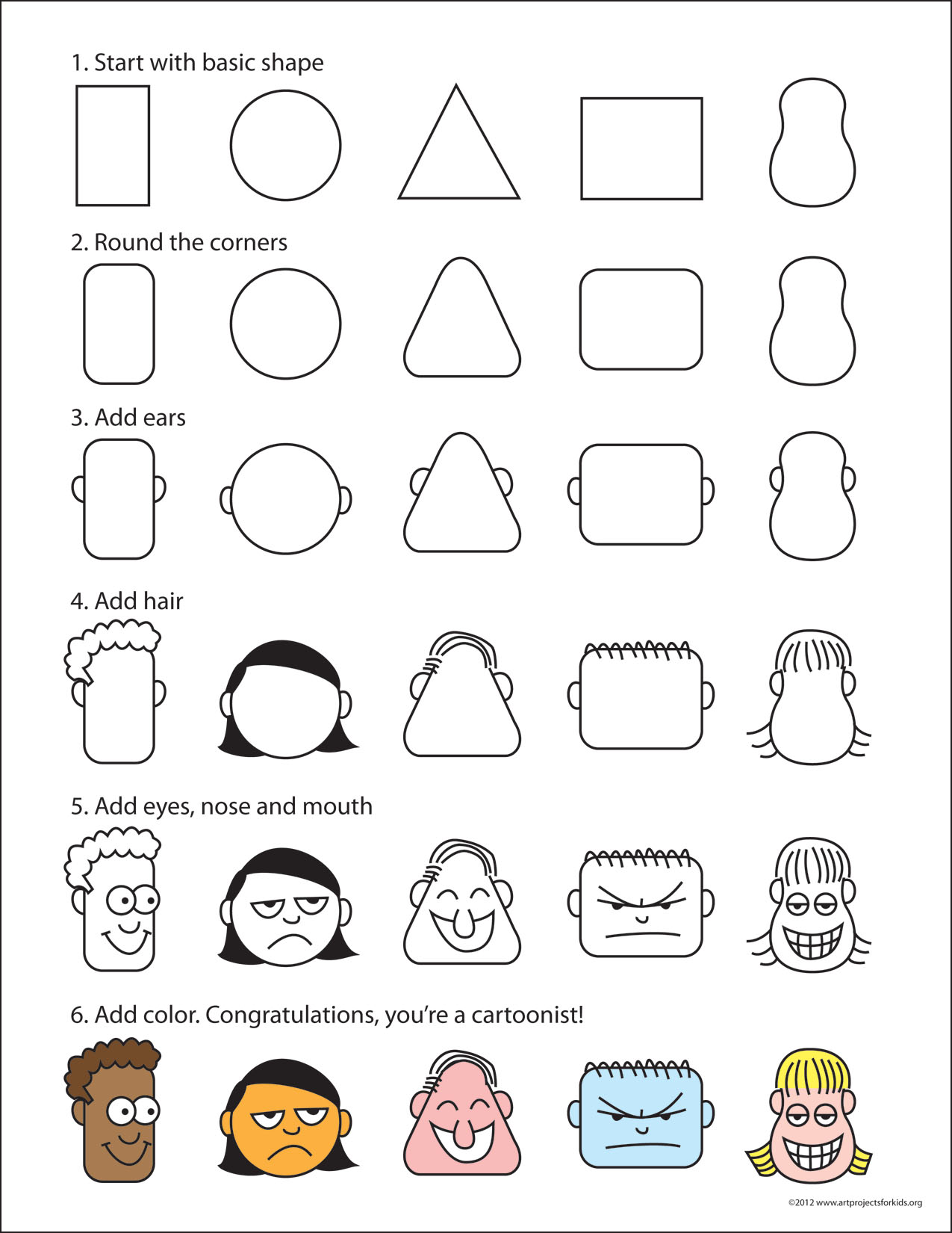 drawing cartoon faces art projects for kids