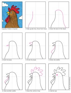 How to Draw Rooster Head diagram