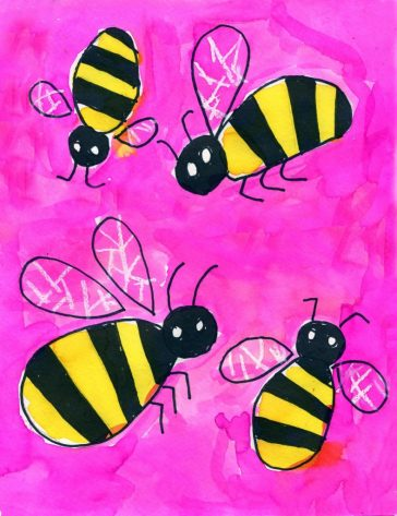 Bumblebee Watercolor Painting