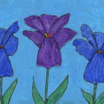 Monet Pastel Iris Drawing