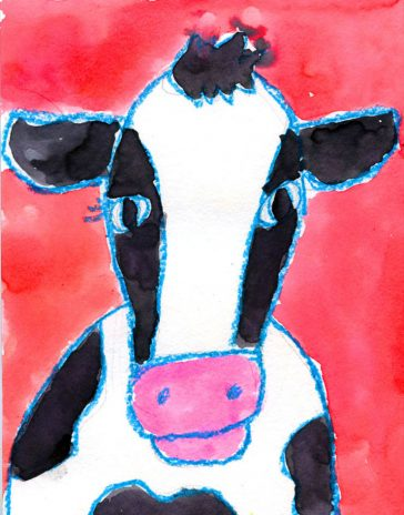 cow head drawing