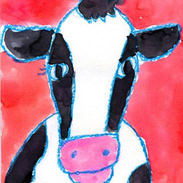 cow head drawing