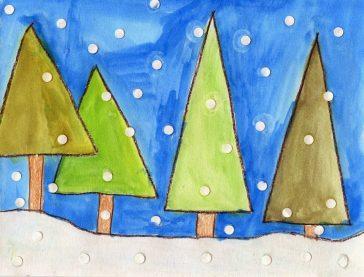 Geometric Trees Winter Landscape