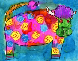 Crazy Abstract Cow Painting