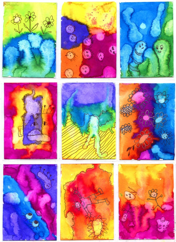 Watercolor Art trading cards
