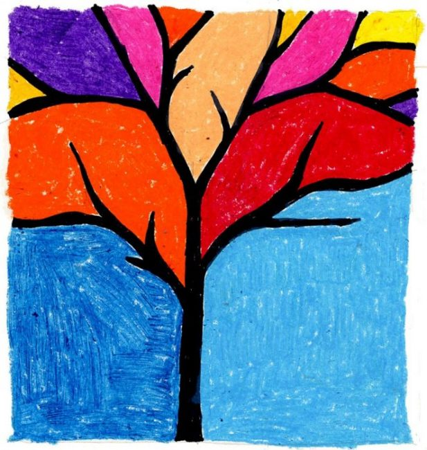 Easy Fall Tree Drawing · Art Projects for Kids