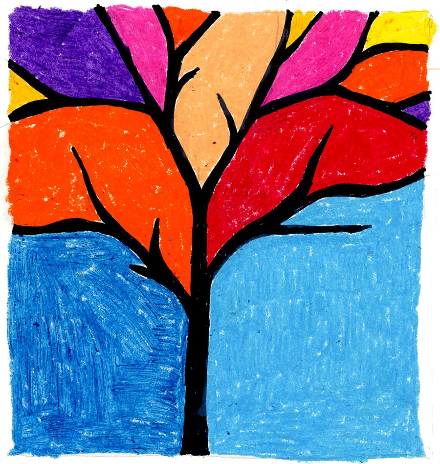 Abstract Tree Silhouette In Oil Pastel Art Projects For Kids