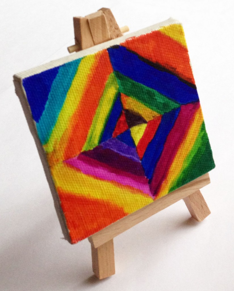 Mini canvas kandinsky diamond painting art projects for kids for Painting craft projects