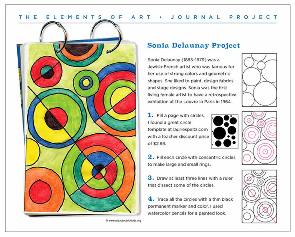 Delaunay Art Journal Page - Art Projects for Kids
