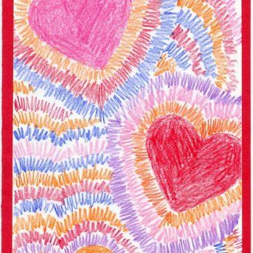 Radial Hearts Drawing