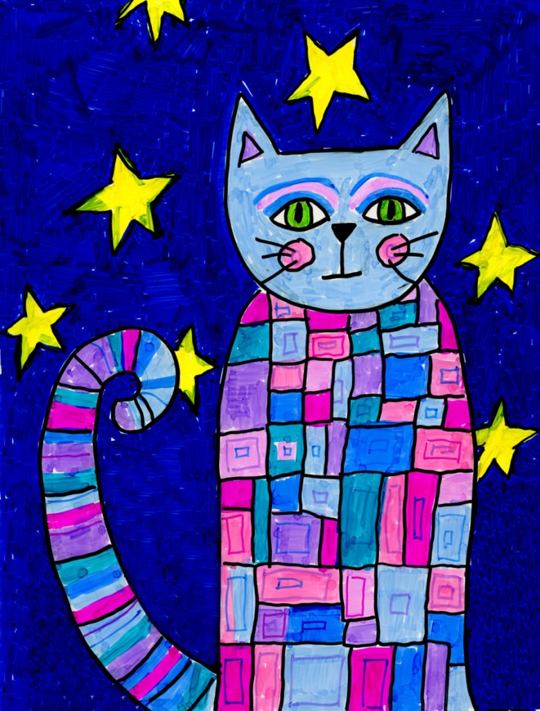 Pattern cat art projects for kids for Cool art ideas for kids