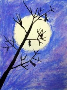 Full moon tree art