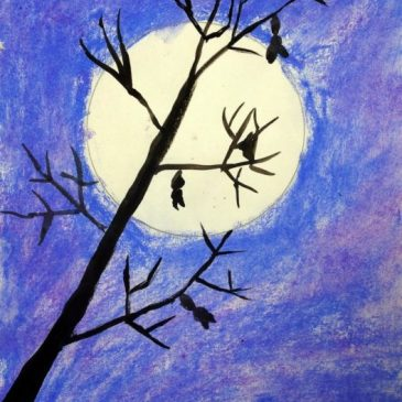 Tree Silhouette Pastel Art