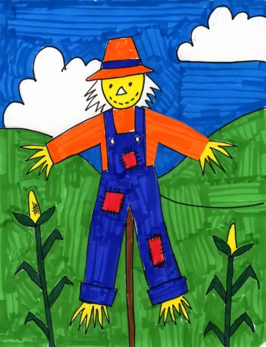 this scarecrow drawing can include a lesson in foreground and background and contrasting color