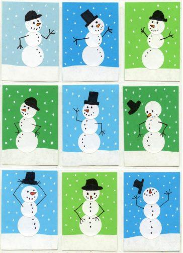 Sticker Snowmen Card