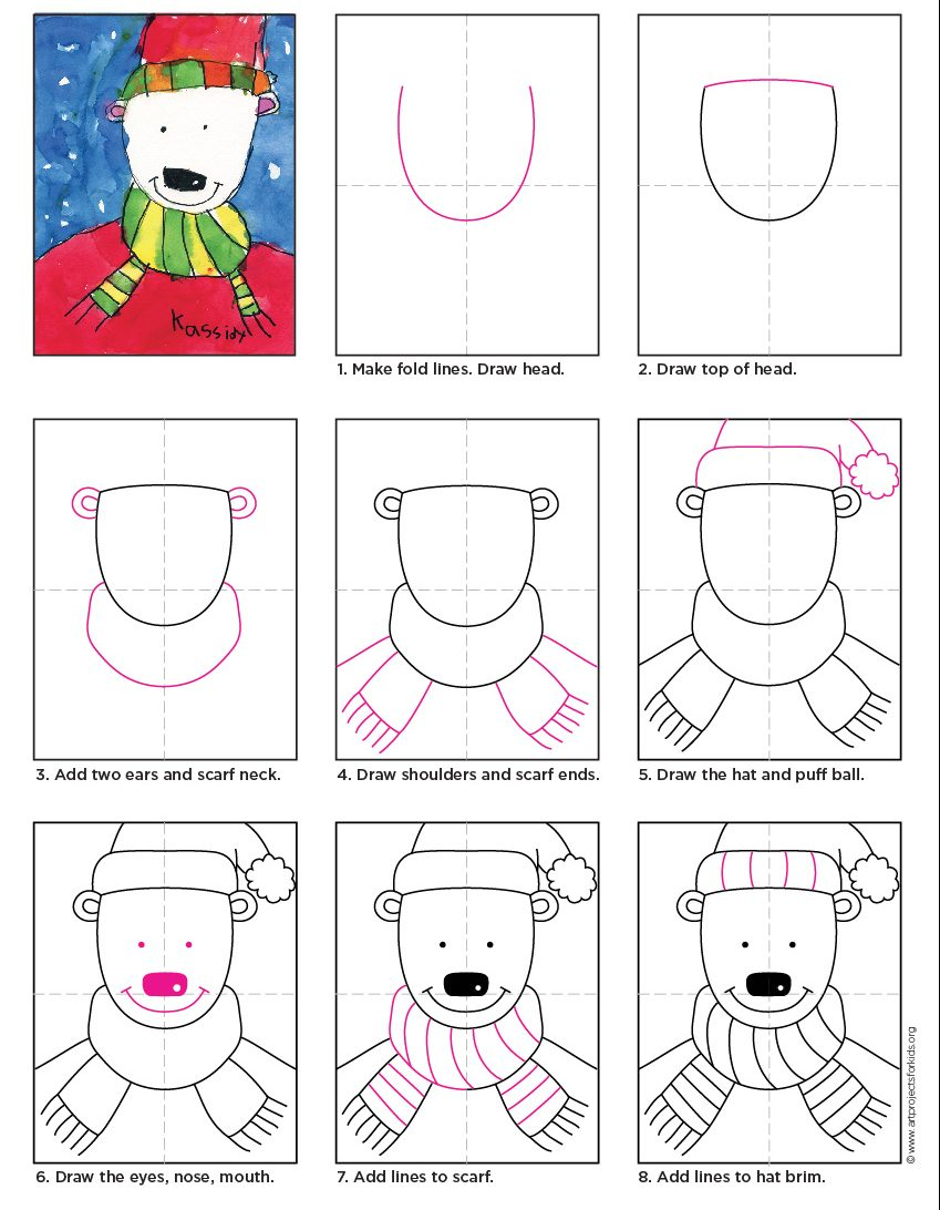 Simple Polar Bear Drawing Art Projects For Kids