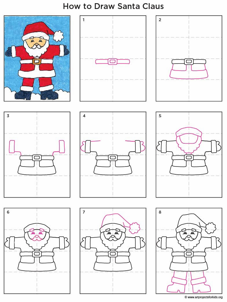 Uncategorized How To Draw Santa Clause santa claus art projects for kids draw diagram
