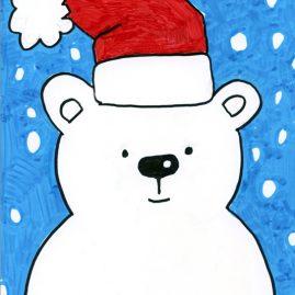 holiday polar bear drawing