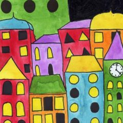 city drawing for kids