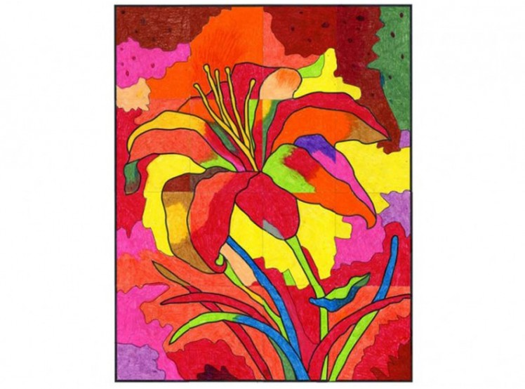Abstract Flower Mural Art Projects For Kids
