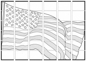 Collaborative American Flag mural diagram