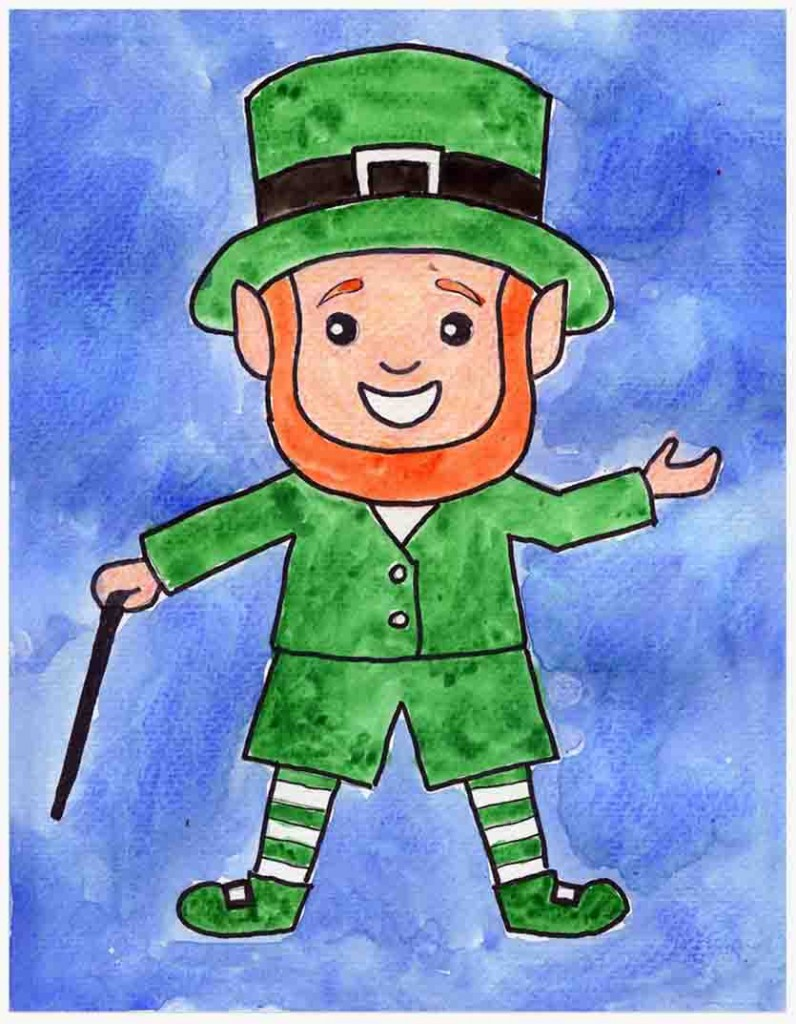 step by step leprechaun drawing