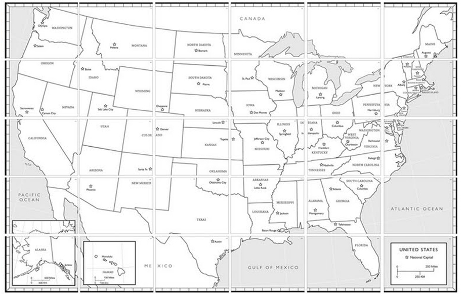USA Map Art Projects For Kids - Black and white usa map