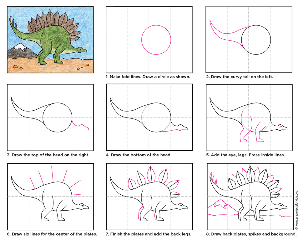 Drawing Lines For Toddlers : Stegosaurus art projects for kids