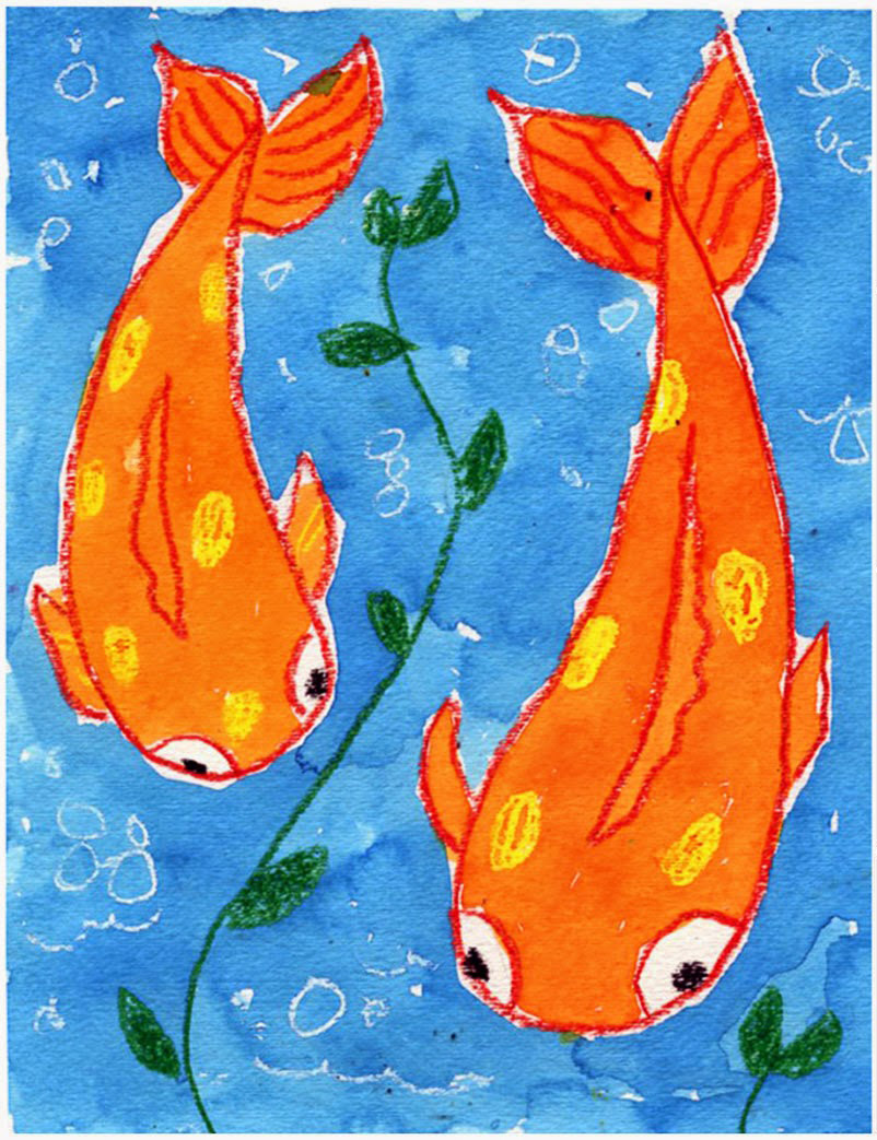 Koi fish painting art projects for kids for Koi fish framed prints