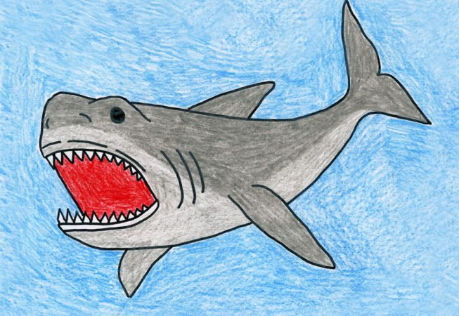 Draw a Megalodon Shark · Art Projects for Kids Earth Painting Oil