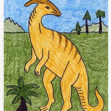 Draw a Parasaur Dinosaur
