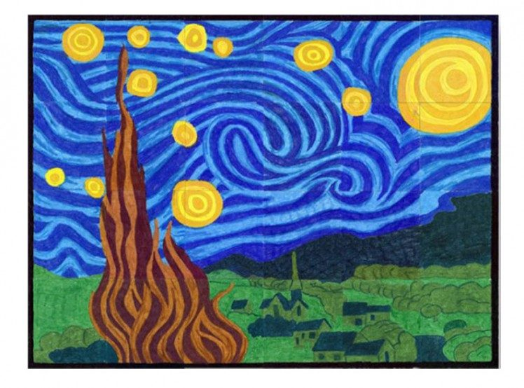 Starry Night Mural - Art Projects for Kids