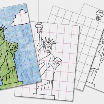 Draw the Statue of Liberty with the Grid Method