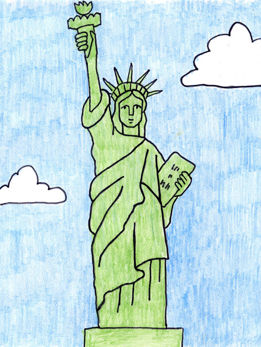 drawing the statue of liberty is a great way to learn about it but its not the most easy shape to draw i have seen lots of students do much better than
