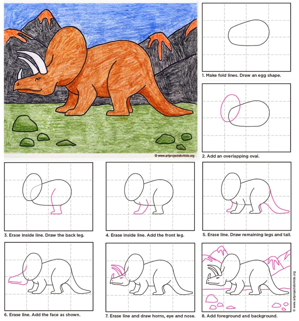 Draw A Triceratops Art Projects For Kids
