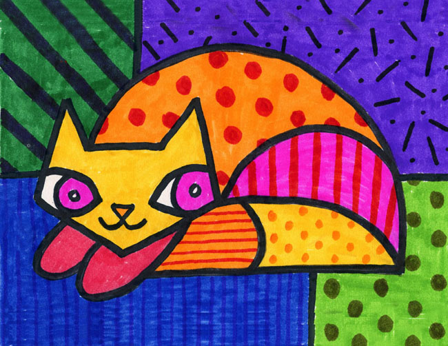 Romero Britto Cat - Art Projects for Kids