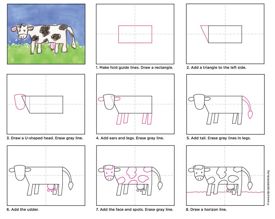 How To Draw A Cow Art Projects For Kids