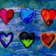 Watercolor Resist Heart Painting