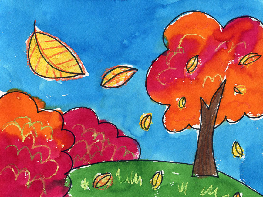 Fall landscape art projects for kids Fun painting ideas for toddlers