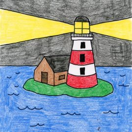 simple lighthouse drawing