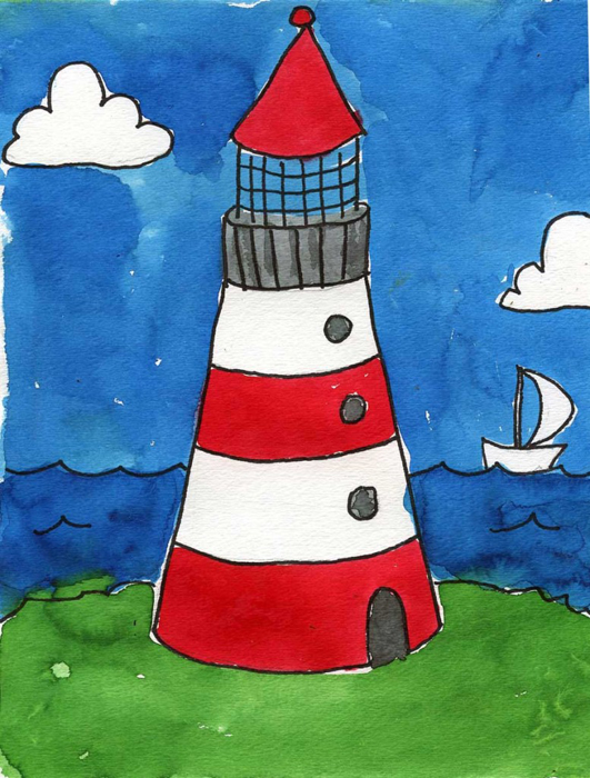 Lighthouse art projects for kids for Watercolor painting and projects