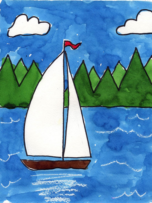 Sailboat On A Lake 183 Art Projects For Kids