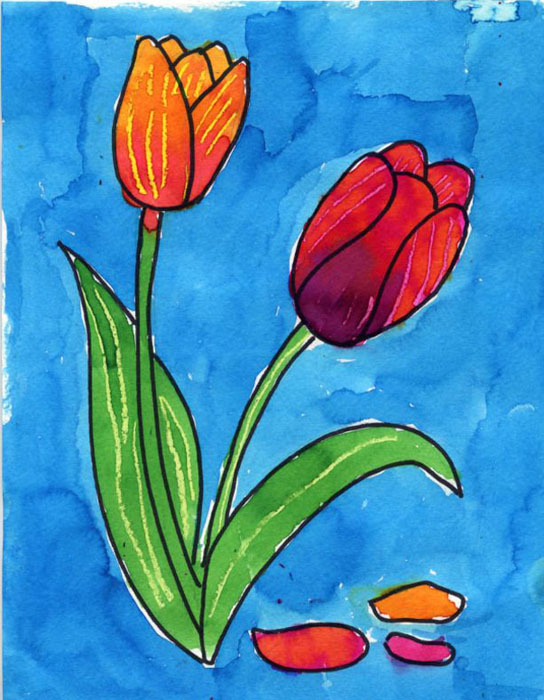Draw a Tulip  Art Projects for Kids